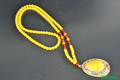 China Collectible Vintage Decor natural beeswax handwork cloisonne long Necklace