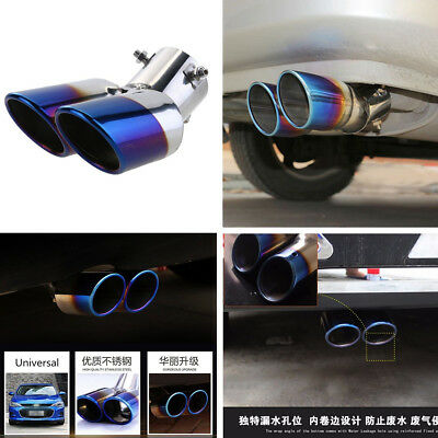 Blue 63MM Tail Pipe Tip Dual Muffler Exhaust Silencer Stainless Steel Rear Tips