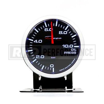 Depo Racing 60Mm Oil Pressure Stepper Gauge | Illuminated Universal Analogue