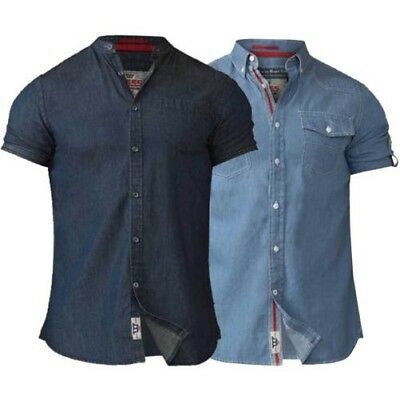 a980ef894a Mens Denim Shirt D555 Duke Big King Size Cotton Astra Nathan Short Sleeved  New
