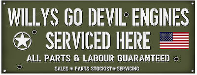 Willys Jeep, Go Devil Motoren Gewartet Here Metall Sign.usa Military Jeeps