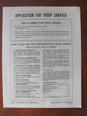 Vintage 1950s BSA Boy Scout Troop Charter Application CONCORD NC Troop 91 Dist 2
