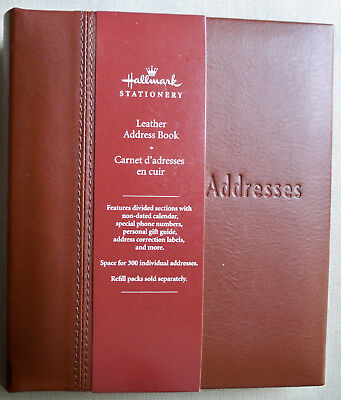 Hallmark Refillable 6-Ring Deluxe Saddle Brown Leather Address Book