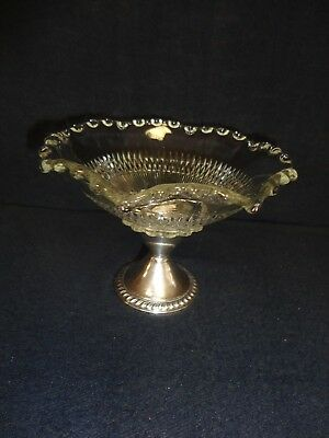 Vintage Candy Nut Dish Sterling Silver .925 Antique Ornate Crystal Glass