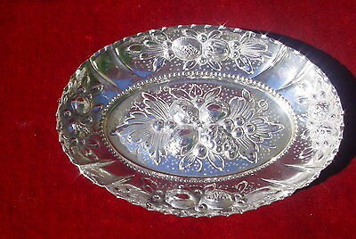 Vintage Dish Tray Oval Embossed Solid Silver 800