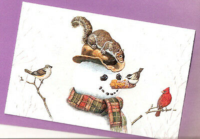 Corncob Snowman Squirrel Birds Embossed Christmas Cards Box of 16 by Tim Knepp