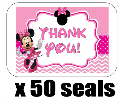 """50 Minnie Mouse Thank You Envelope Seals / Labels / Stickers, 1"""" x 1.5"""""""