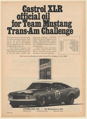 1969 Castrol XLR Official Oil for Team Mustang Trans-Am Challenge Print Ad