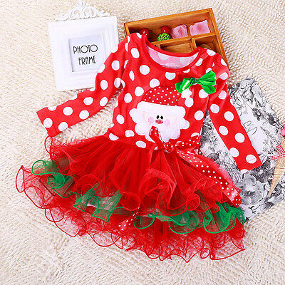 Xmas Baby Kid Girls Christmas Candy Santa Lace Tutu Dress Skirt Outfit 1-6Y Pop*