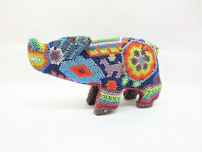 Mexico Wild Boar Animal Huichol Folk Art Colorful Beaded Carved Wood Free S/H