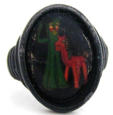 Vintage Adjustable Gumby & Pokey Metal Gumball Ring
