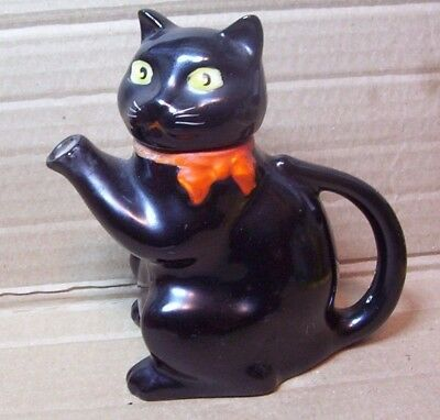 "Vintage Black Cat Teapot Porcelain ""Pussyfoot:""1 Cup Tea Pot Wood & Sons Kitten"