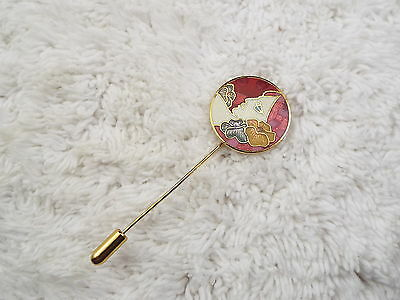 Goldtone Cloisonne Flower Lady Stick Pin (A49)