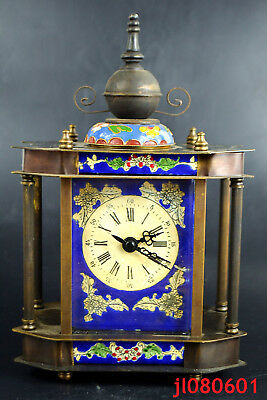 Collectible Mechanical Clock cloisonne flower copper armstrong's patent big nice