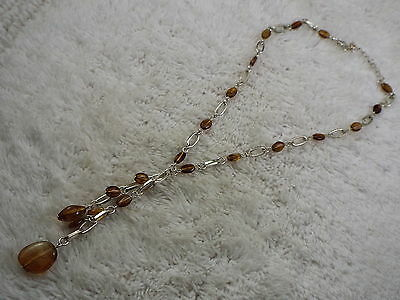 Silvertone Chain Acrylic Amber Bead Drop Pendant Necklace (D34)