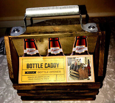 Bottle Caddy New Unused Six-Pack Wood Opener Handmade Sturdy Reproduction Cool!