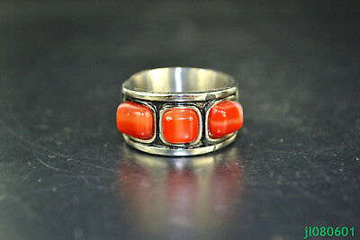 Collectible old 925 silver carve flower inlay red jade nice handwork rare Ring