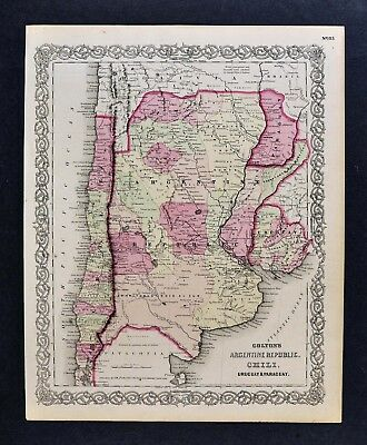 1866 Colton Map - Argentina Paraguay Uruguay Chile Buenos Aires Brazil Missions