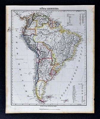 c1850 Flemming Map - South America  Brazil Argentina Peru Colombia Bolivia Chile