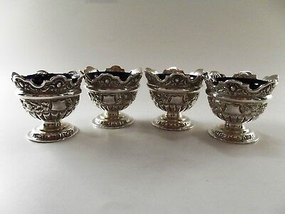 Stunning Set Of Four Antique Victorian Silver Open Salts London 1897 Ref 39/1