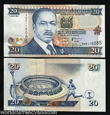 Kenya 20 Shillings P35 1997 Olympic Unc World Currency Money Bill Bank Note