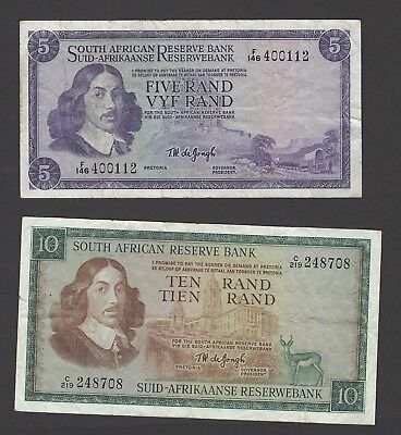 South Africa Reserve Bank 5 rand and 10 rand banknotes