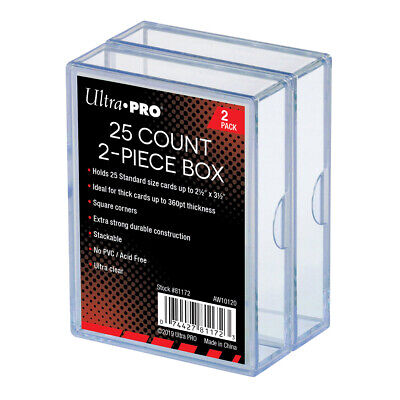 (2-Pack) Ultra Pro 2 Piece Plastic Card Storage Box (25 Count Size) Slider Box