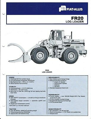 Equipment Brochure - Fiat-Allis - FR20 - Log Loader Logging - c1981 (E4023)
