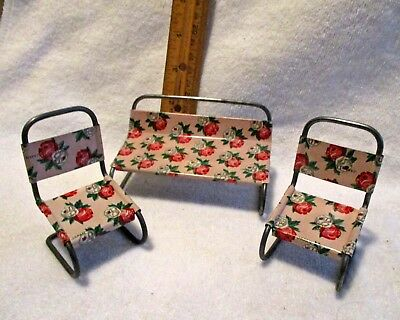 Vintage Miniature Doll house furniture- 3 pc. tin patio set-signed Japan