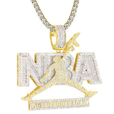Never Broke Again Pendant Iced Out Basketball Jumpman Dunk Gold Finish Necklace
