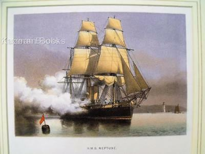 Antique Colour Lithographic Print HMS Neptune Victorian Ships Of Royal Navy