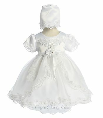 New Baby Girls White Christening Baptism Dedication Dress Gown w/ Bonnet 021