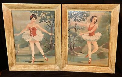 VINTAGE PAINT BY NUMBER PBN BALLERINA PAINTINGS Set of 2