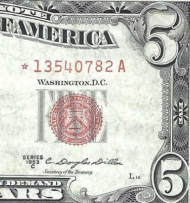 1953C $5 RED Seal *STAR* Legal Tender *UNITED STATES NOTE* Old US Paper Money!