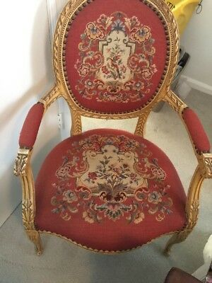 Antique French Louis XVI Style Carved Floral Needlepoint Accent Chair