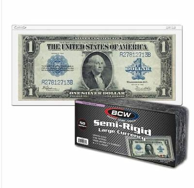 (50 Count Pack) BCW Semi Rigid Large Bill Currency Holders For Larger Notes
