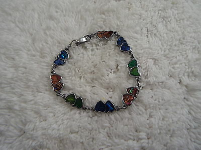 Silvertone Colorful Abalone Double Heart Bracelet  (D56)