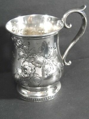 Antique 1856 Repousse John Westervelt Coin Silver Mug Baby Christening Cup