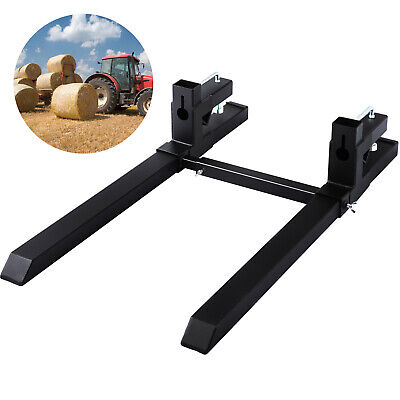 Clamp on Pallet Forks w/ Stabilizer Bar 1500lb Tractor Adjustable Stabilizer