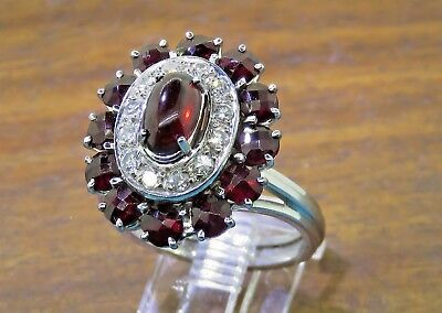 Vintage palladium ART DECO 1920's 1930's BOHEMIAN GARNET .36 CT. DIAMOND ring