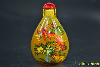 Collectible Old Glass Inside Painting Fish Snuff Bottle(Inside have copper coin)