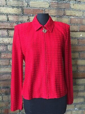 Cherry Red ST. JOHN Collection Santana Knit Zip Jacket size 10 Made in USA