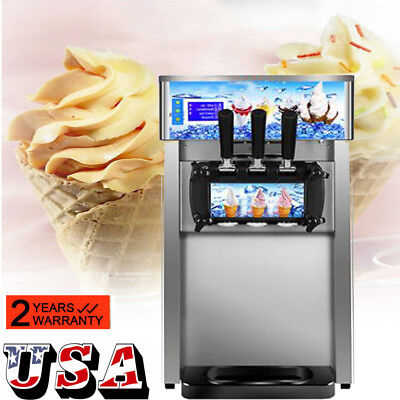 Commercial Soft Serve Ice Cream Machine 3 Flavor Frozen Yogurt Dessert Machine