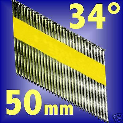 50mm GALVANISED RING SHANK NAILS 34 degree air nailer brads collated clipped d