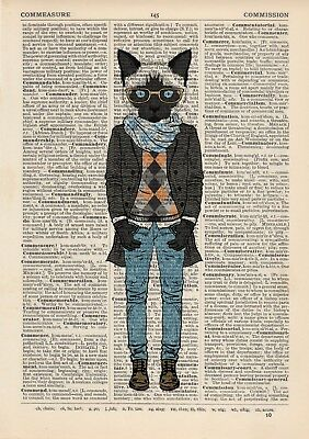 Grumpy Cat Stripes Dictionary Art Print Wall Picture Vintage Animal in Clothes
