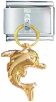 DOLPHIN GOLD TONE OCEAN Dangle Italian 9mm Charm OC152 Fits Nomination Classic