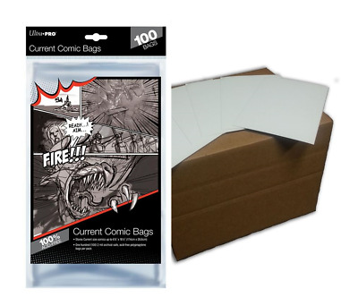 (100) Ultra Pro Current Size Comic Book Bags Plus Acid Free Backing Boards