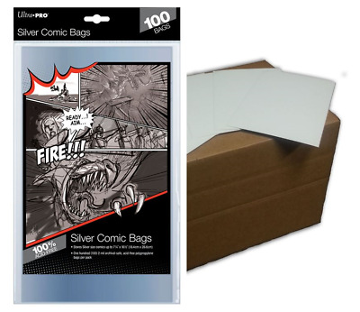 (100) Ultra Pro Silver Age Size Comic Book Bags Plus Acid Free Backing Boards