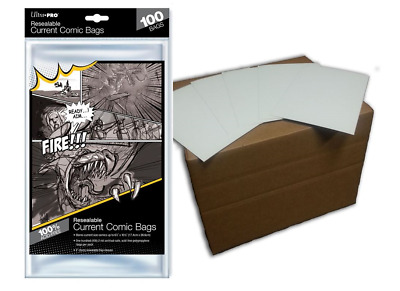 (100) Ultra Pro Current Size Resealable Comic Bags Plus Acid Free Backing Boards