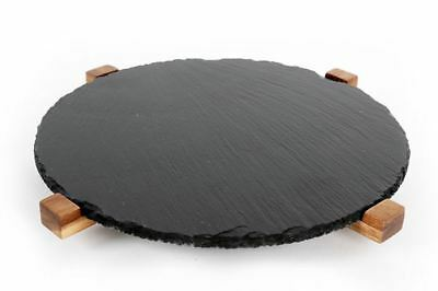 Acacia & Slate Lazy Susan Rotating Serving Plate by Heart of the Home